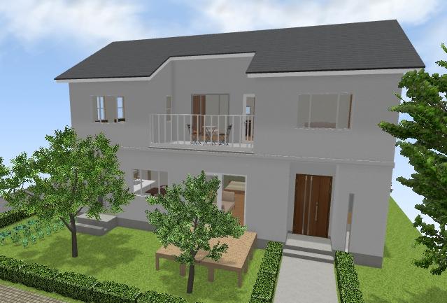リビング奥階段(リビングに併設した小上がりのある)家(間取り作成例)