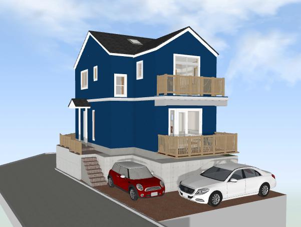1.5mの高低差のあるアーリーアメリカン風の家(間取り作成例)