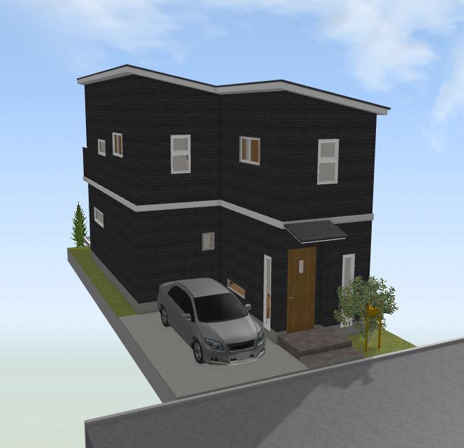 30坪の北側道路敷地の間取り編2(1階リビング・1階水回り・垂直駐車場)