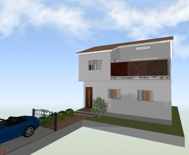 旗竿地に広いバルコニーを配置した開放的な空間の家
